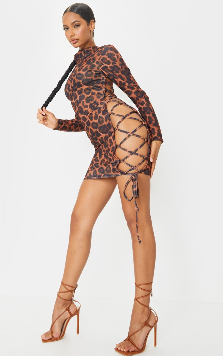 Brown Leopard Print High Neck Cut Out Side Seam Bodycon Dress 3
