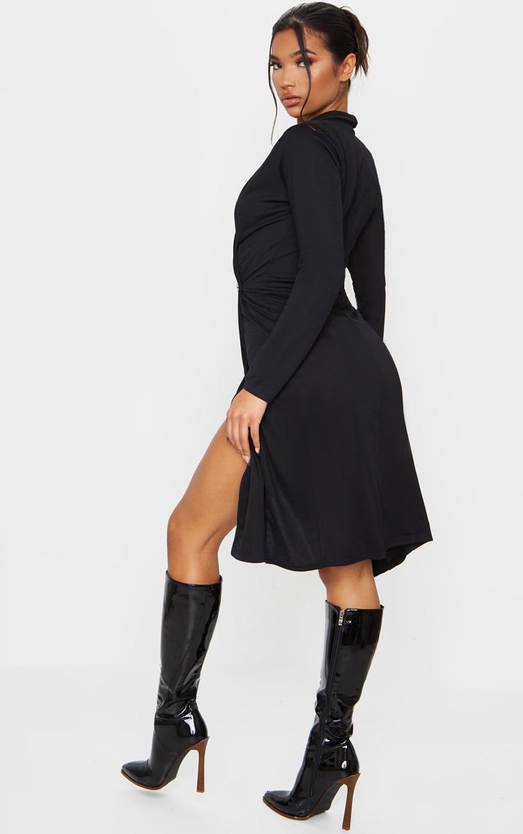 Robe noire mi-longue à boutons style blazer 2