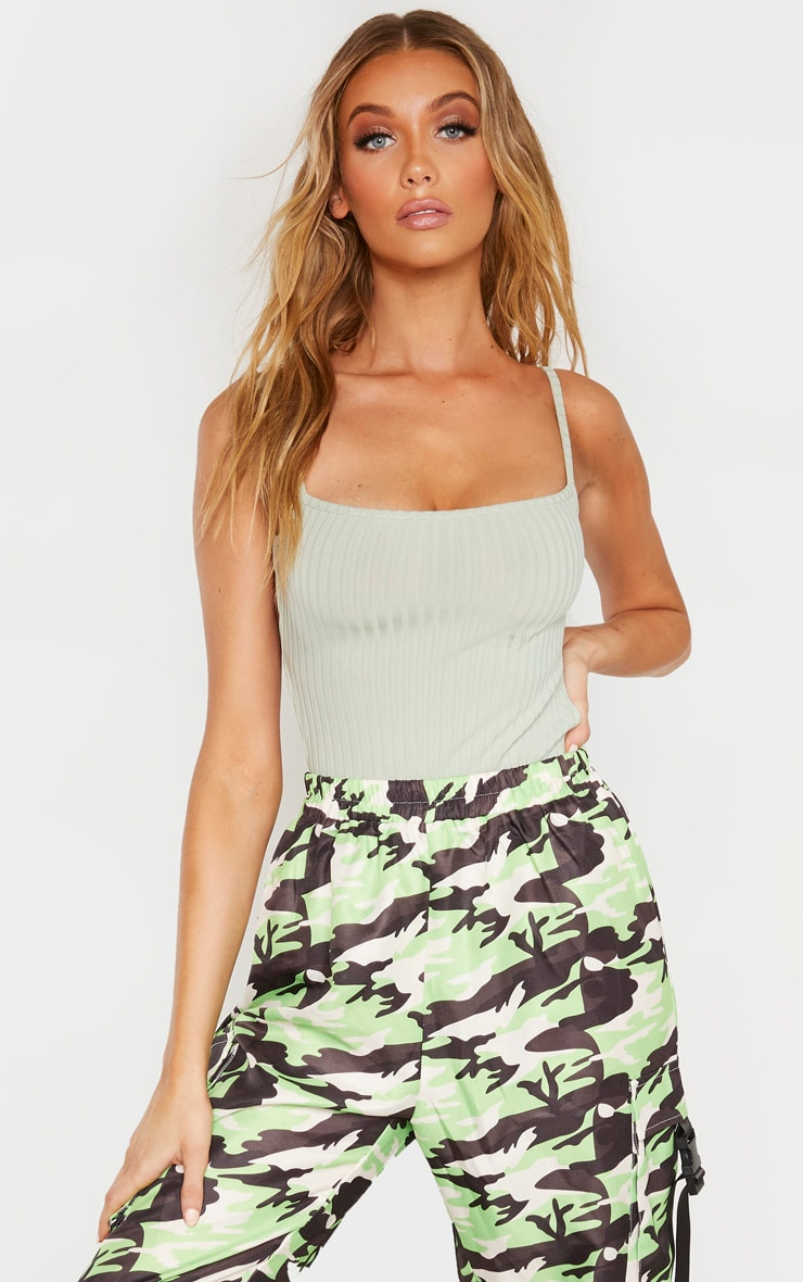 Tall Sage Green Strappy Back Bodysuit 2