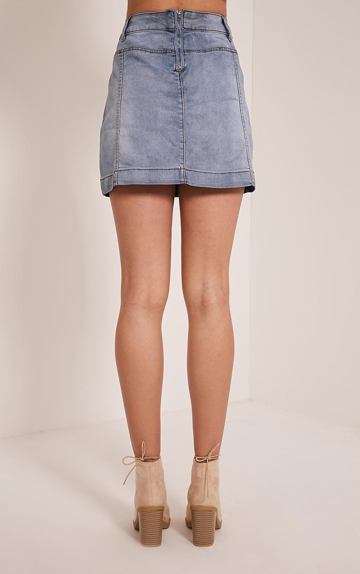 Bayley Light Wash Patch Pocket Denim Mini Skirt 5