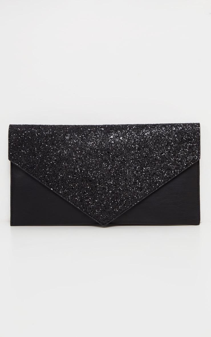Black Glitter PU Contrast Clutch Bag 1