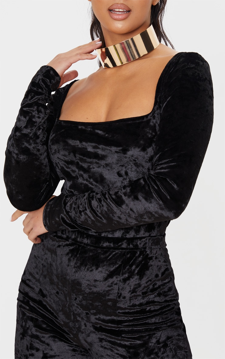 Petite Black Square Neck Velvet Bodysuit 7