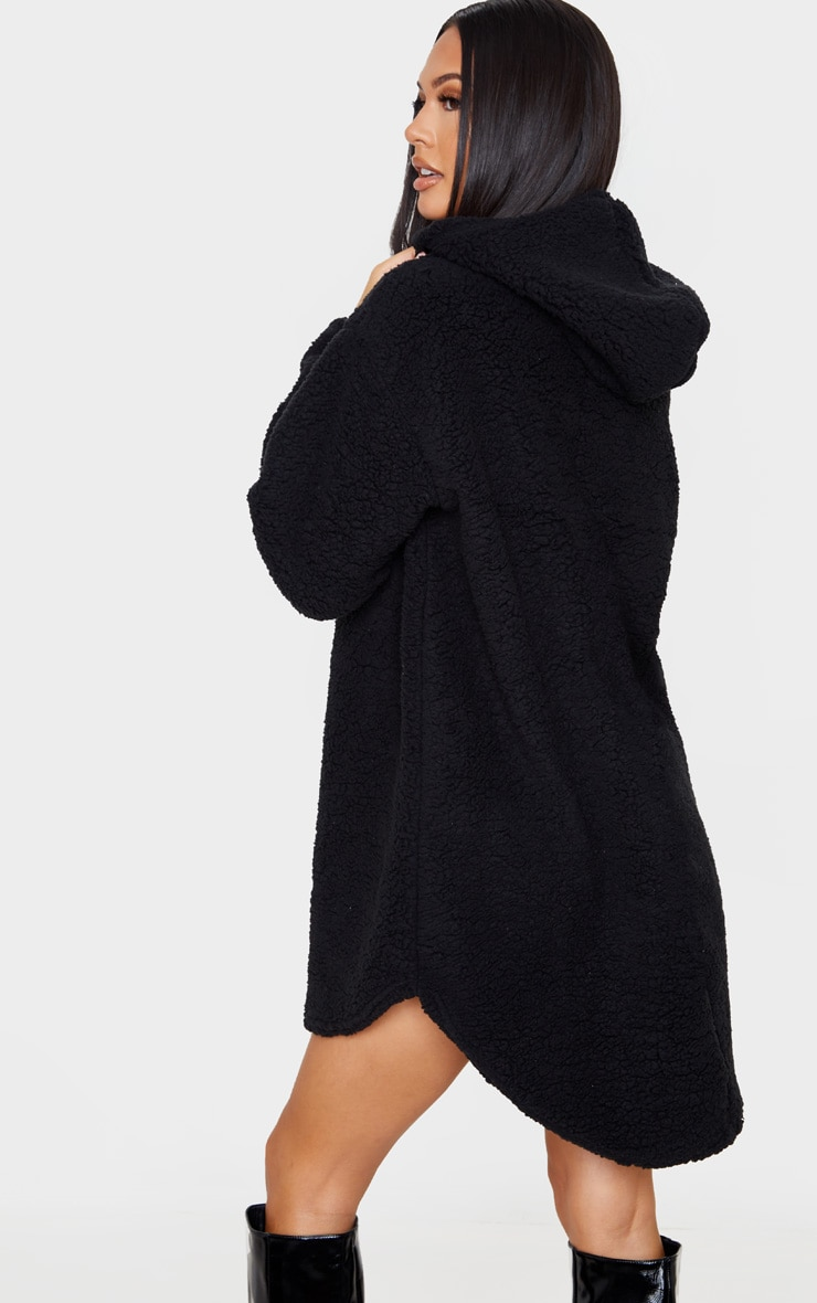 Black Borg Zip Neck Hoodie Oversized Sweater Dress 2