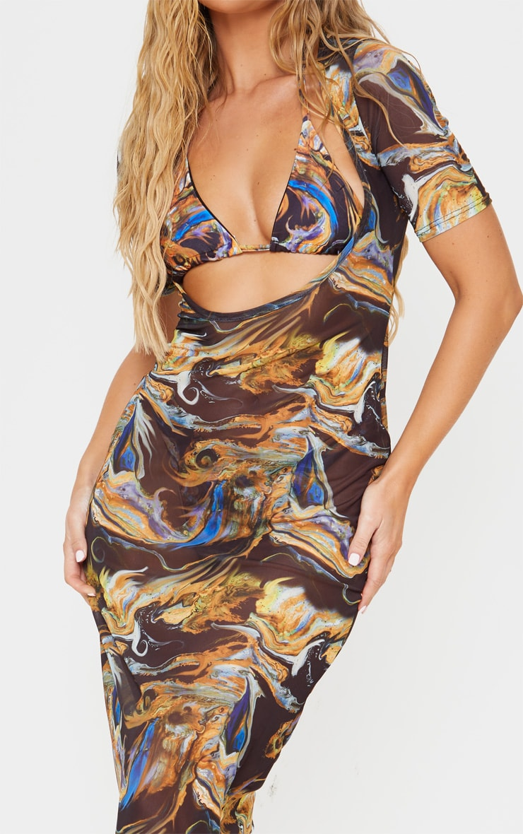 Black Acid Print Short Sleeve Scoop Neck Mesh Maxi Dress 4