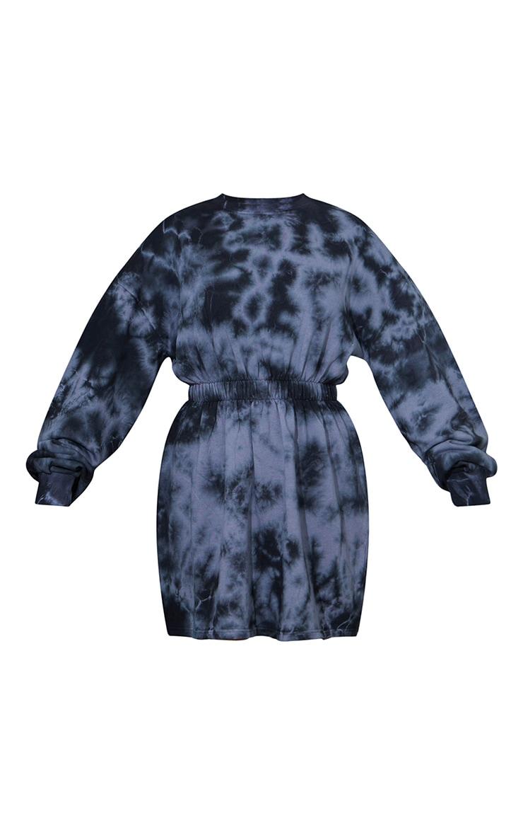 Black Tie Dye Ruched Elasticated Waist Jumper Dress 5
