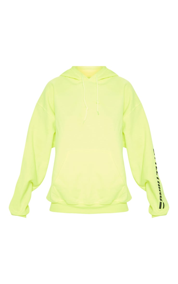 PRETTYLITTLETHING Neon Yellow Logo Stripe Oversized Hoodie 4