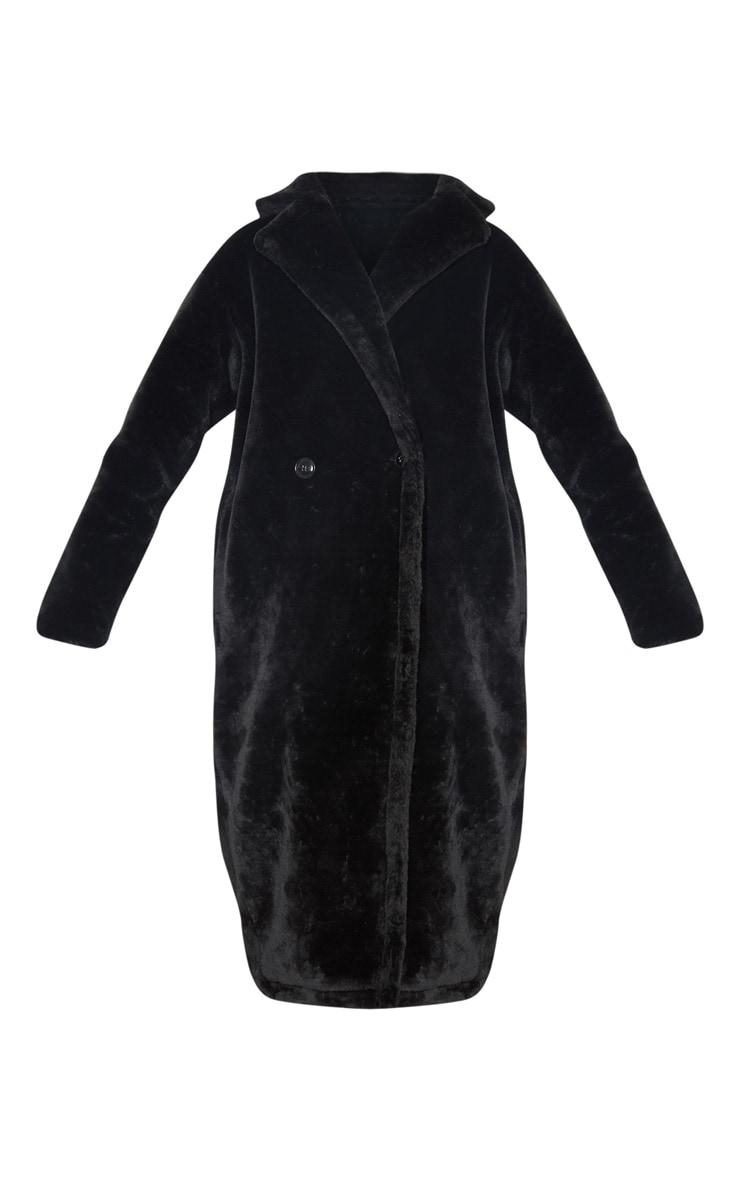 Tall Black Faux Fur Long Line Coat 3