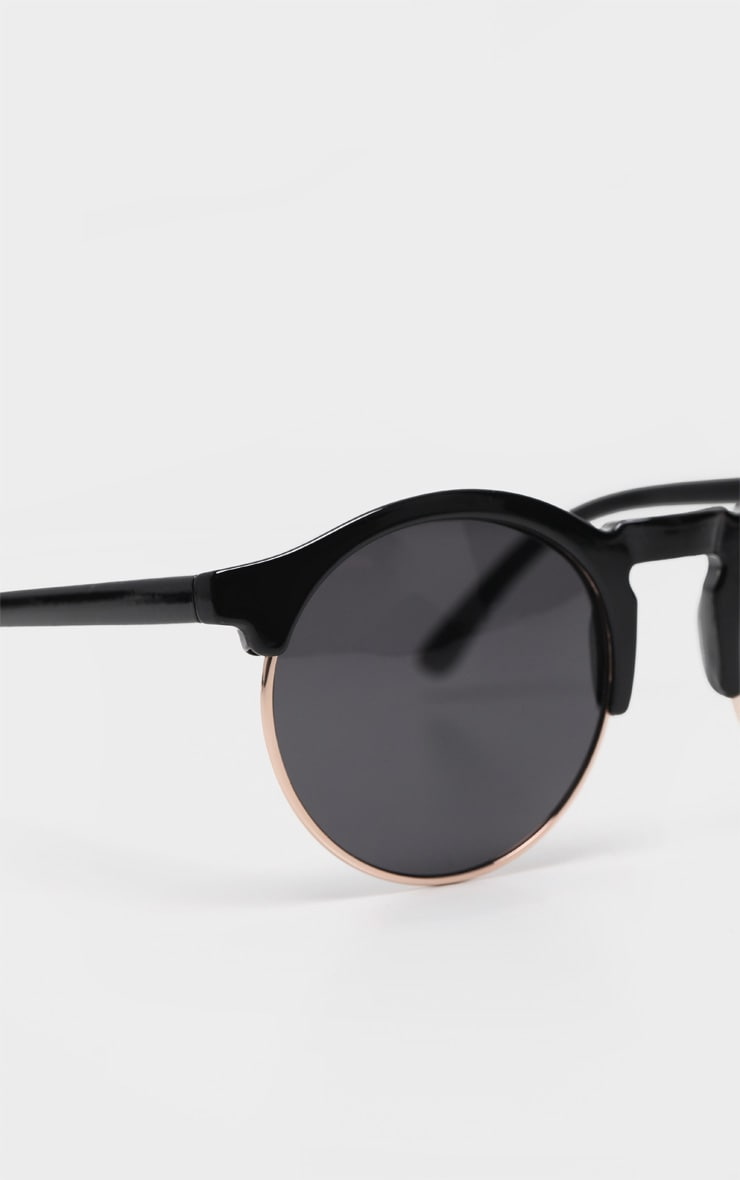 Black Classic Round Retro Sunglasses 4