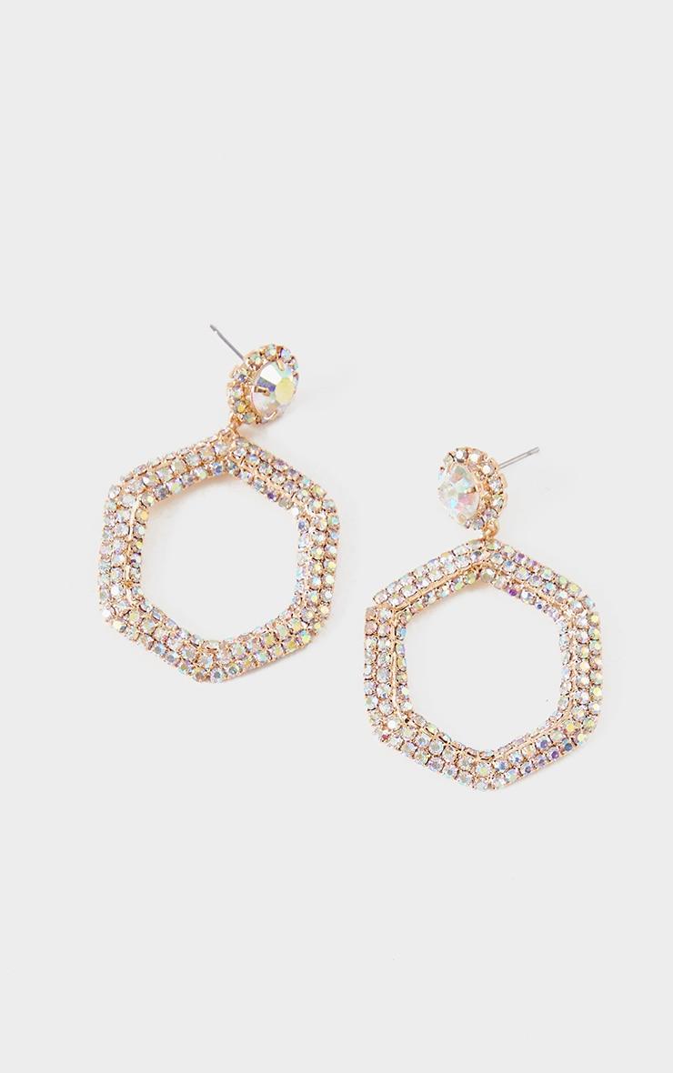 Boucles d'oreilles pendantes hexagonales dorées à pierres fantaisie  2