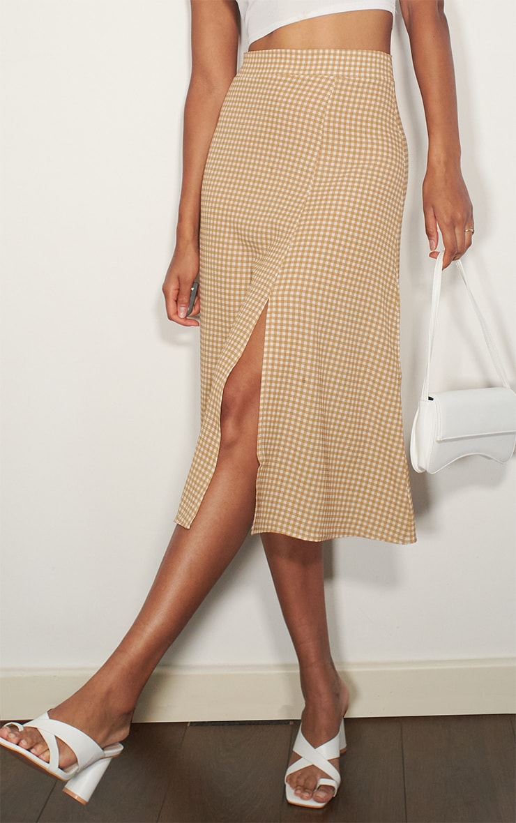 Stone Gingham Floaty Midi Skirt 2