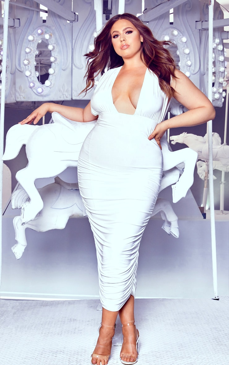 0b0b2c2452b4 The Plus White Ruched Plunge Midi Dress. Head online and shop this ...