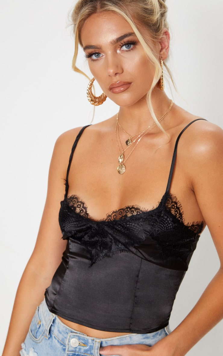 Black Lace Trim Satin Cami Top 4