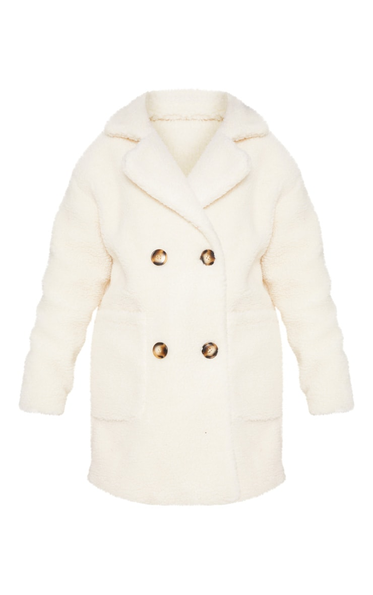 Cream Borg Midi Coat  3