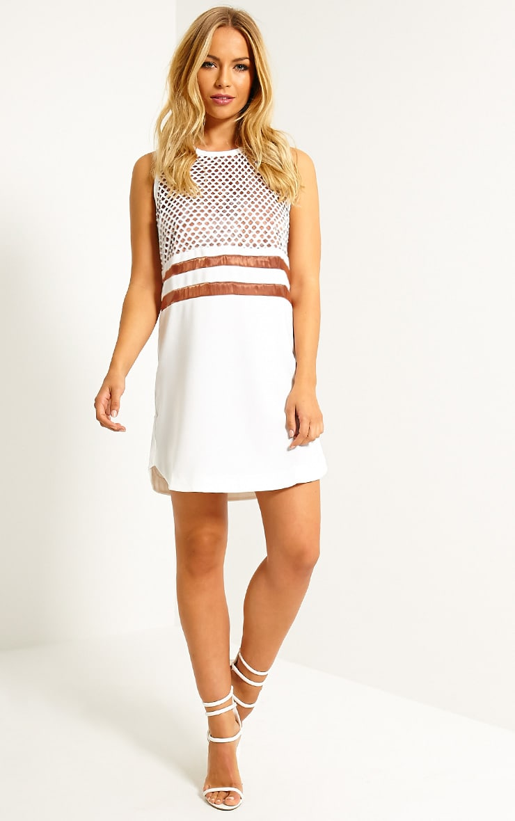 Tamsin White Fishnet Shift Dress 3