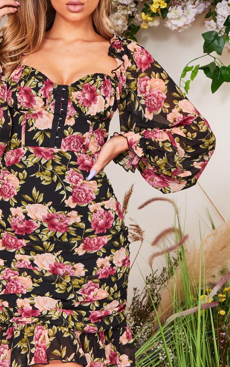 Black Rose Print Corset Detail Ruched Bodycon Dress 4