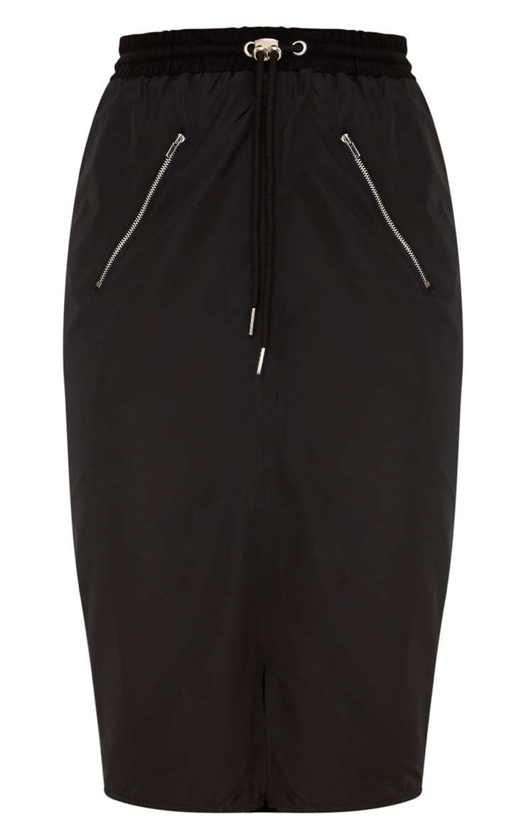 Black Shell Drawstring Midi Skirt  3