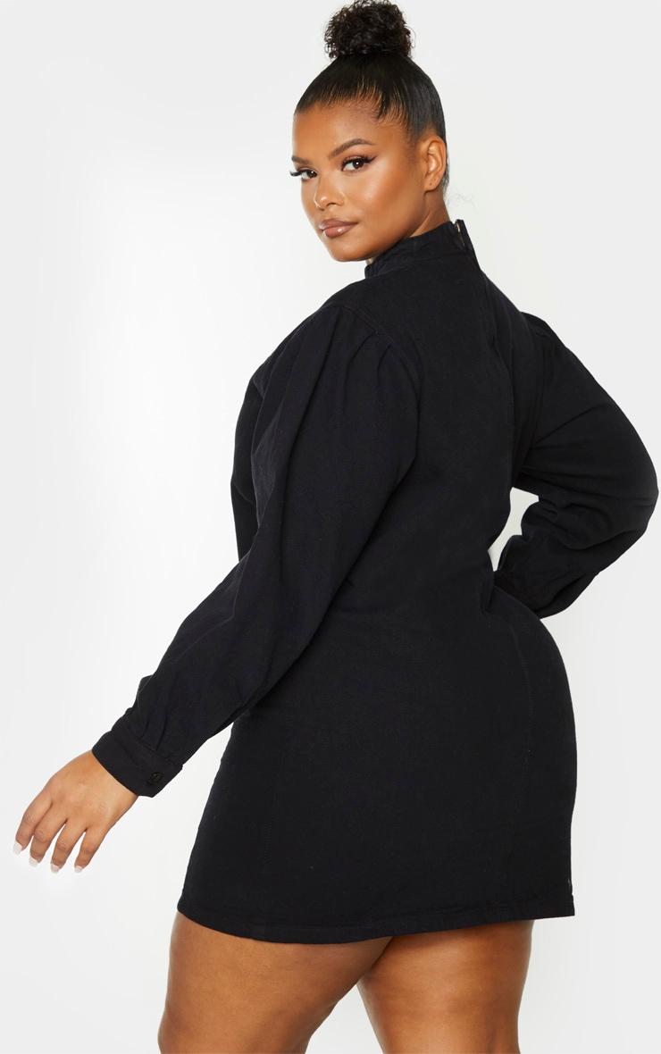 Plus Black Denim Shift Style Dress 2