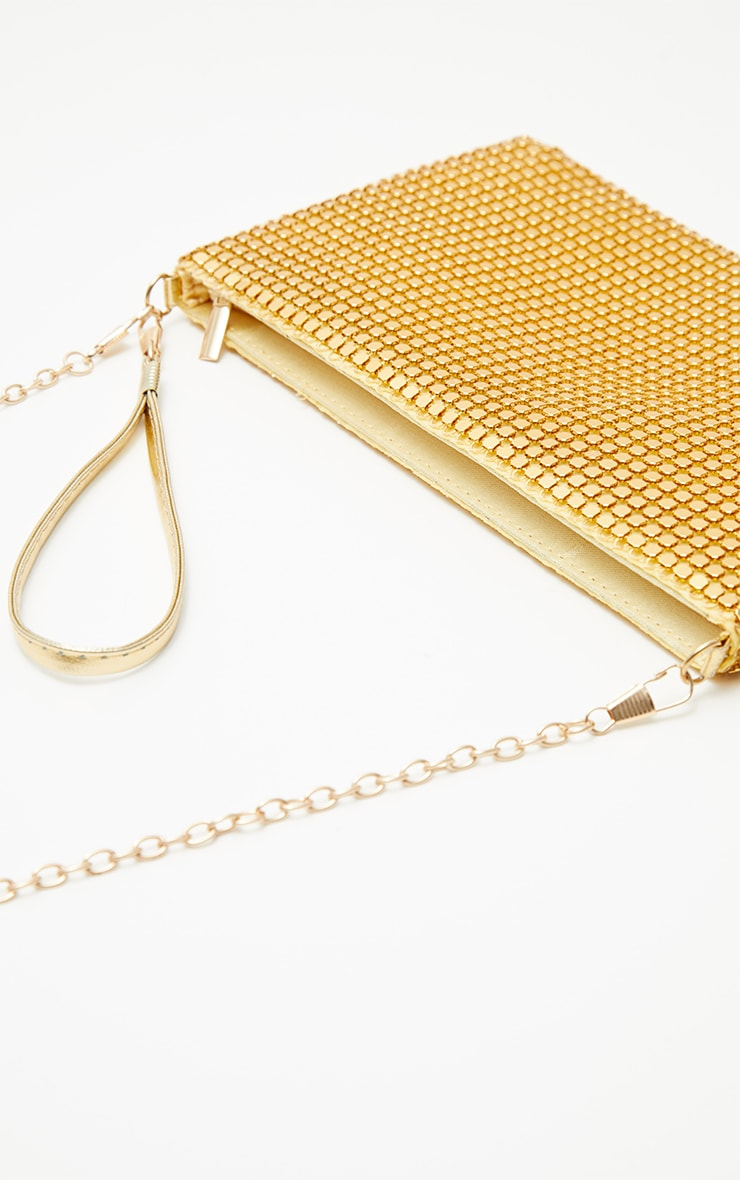Gold Chainmail Rectangular Clutch 5