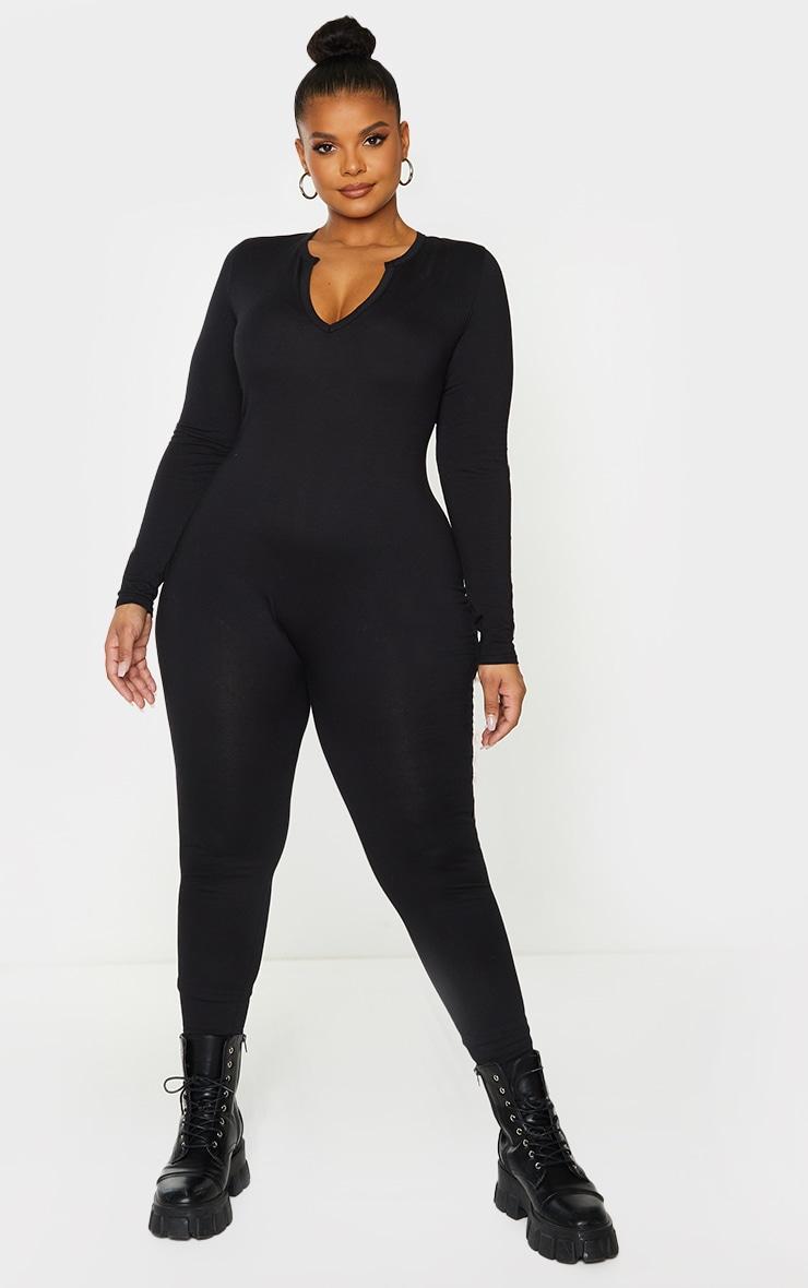 Plus Black Seamless Cotton Elastane V Neck Jumpsuit 1