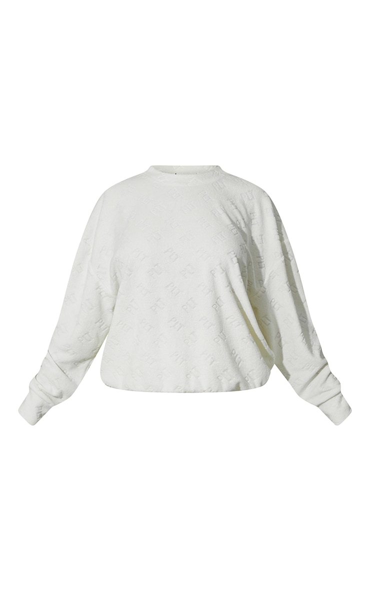 PRETTYLITTLETHING Cream Embossed Towelling Sweater 5