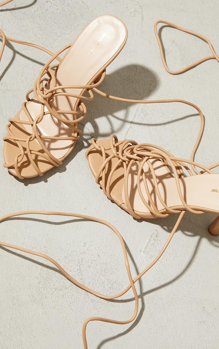 Sand PU Cage Detail Circle High Heeled Sandals 3