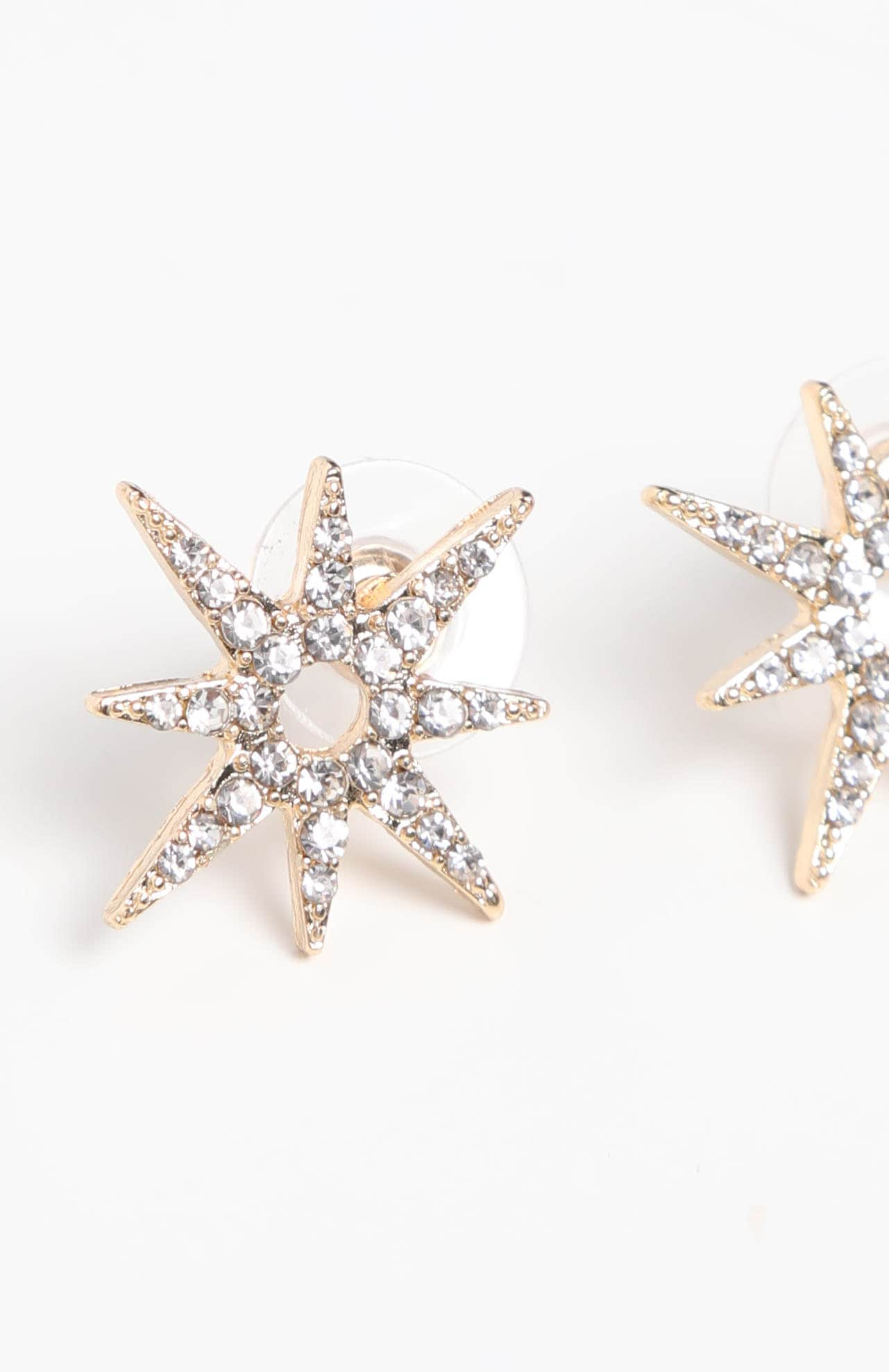 Gold Star Diamante Stud Earrings 3