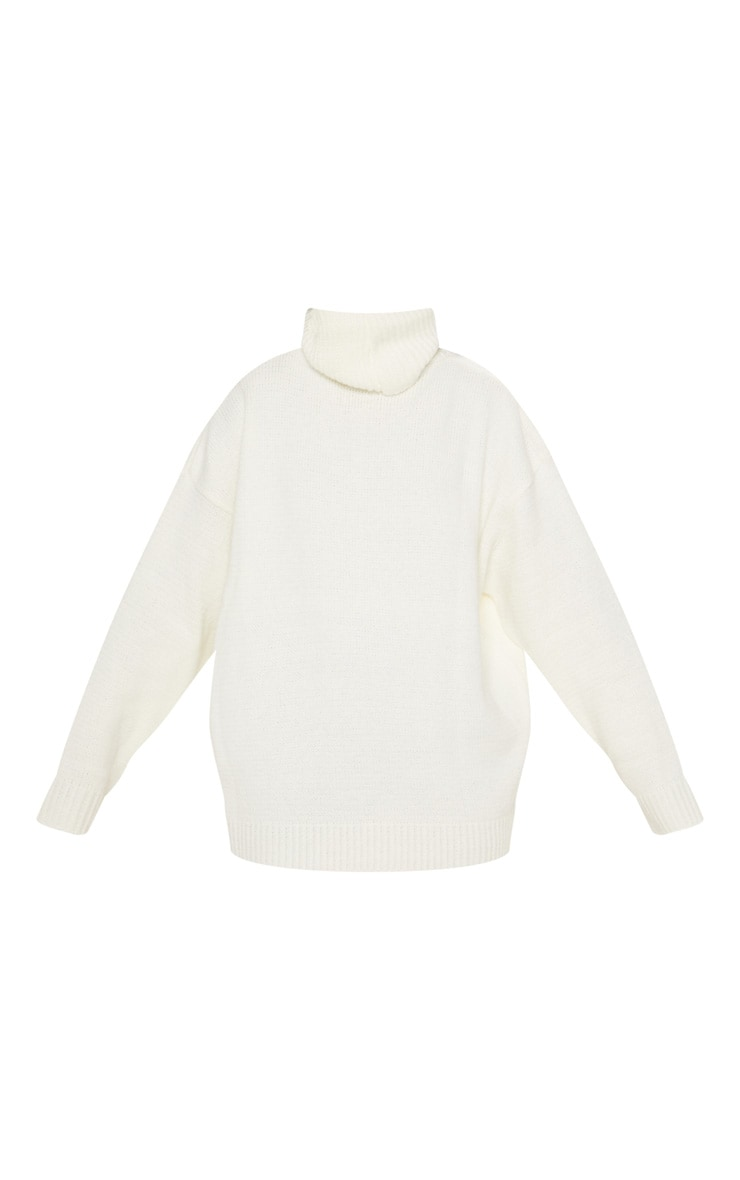 Cream High Neck Fluffy Knit Jumper  3