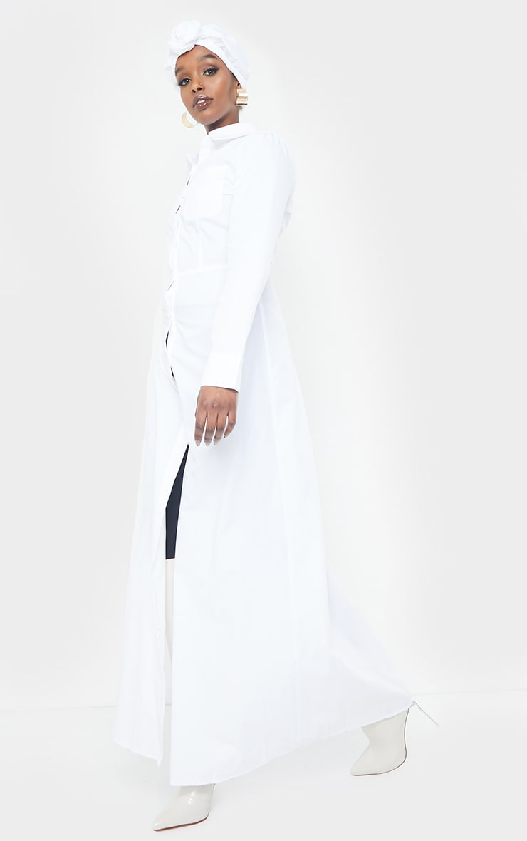 White Woven Button Front Maxi Shirt Dress 3