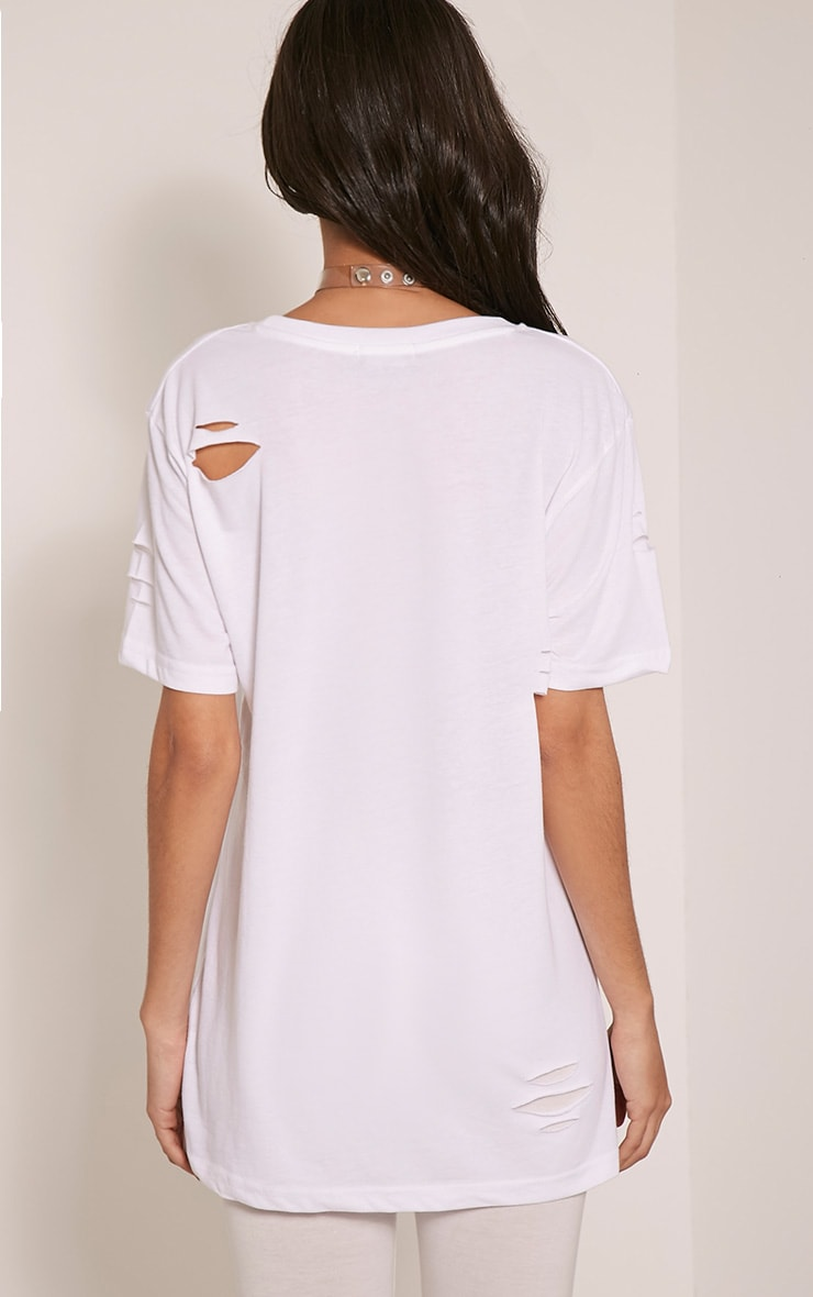 Zinnia White Ripped Oversized Boyfriend T-Shirt 2