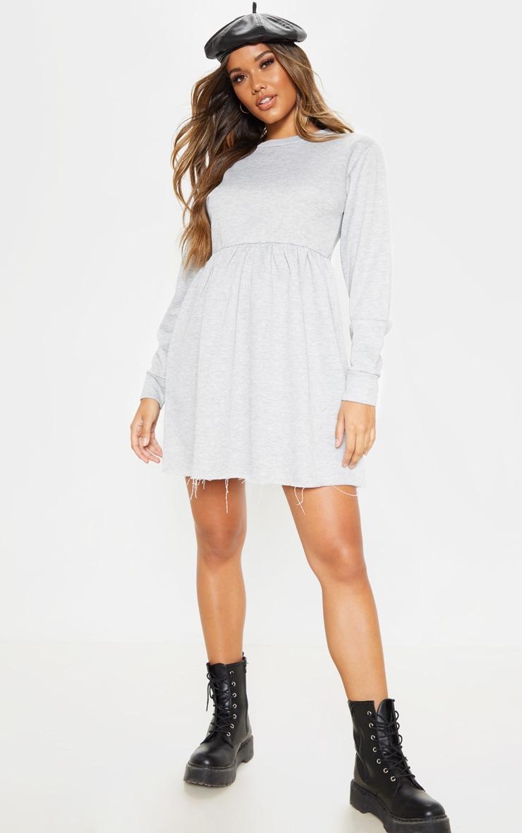 Grey Sweat Long Sleeve Smock Dress 1