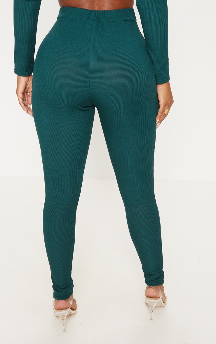 Shape Emerald Green Ribbed High Waist Leggings 4