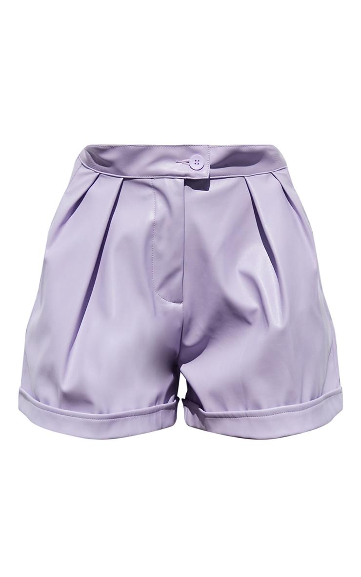 Lilac Faux Leather Pleat Detail Shorts 6