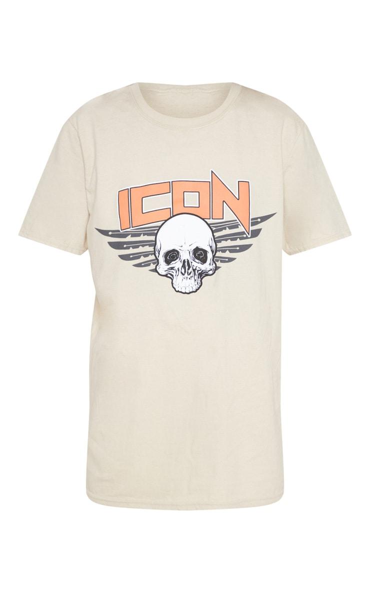 Sand Icon Slogan Oversized T Shirt 3