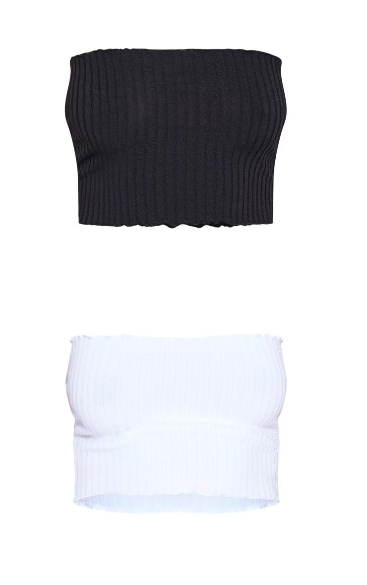 2 Pack Black & White Rib Frill Hem Bandeau Crop Top 3