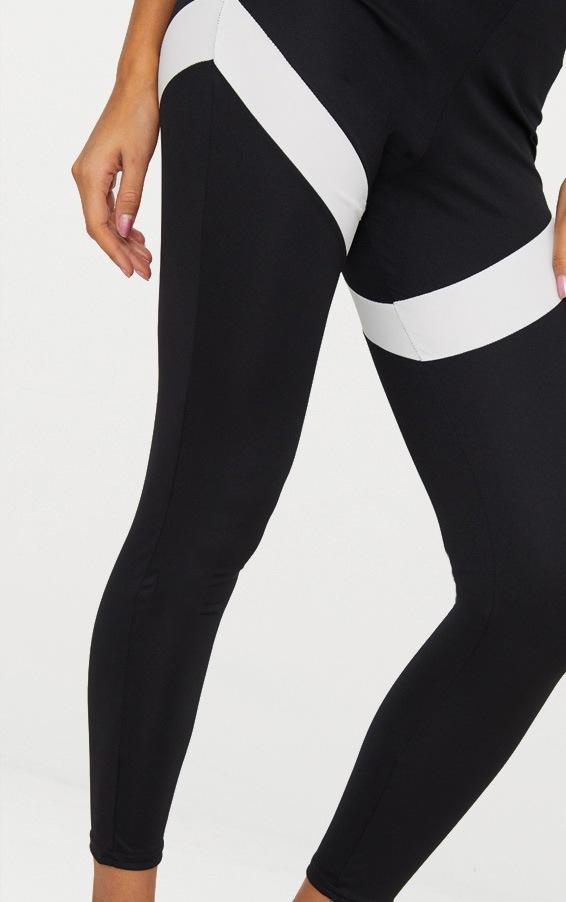 Black Contrast Panel Leggings 4