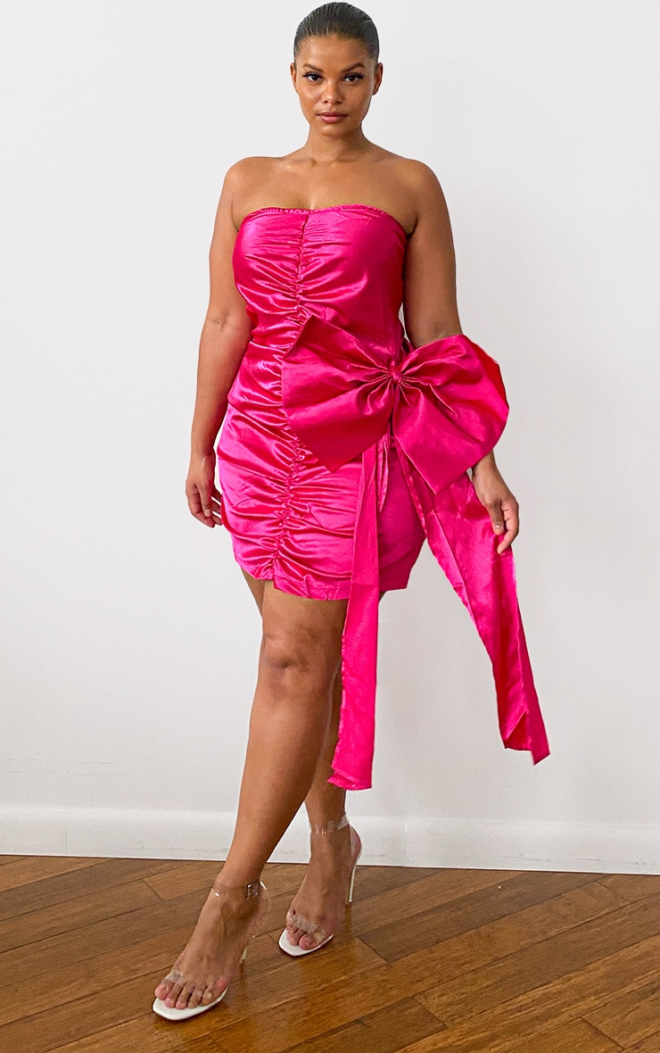 Plus Pink Satin Ruched Front Bow Detail Bodycon Dress 1