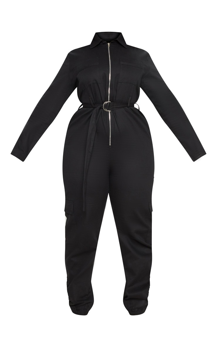 Plus Black Cargo Belted Utility Jumpsuit 3