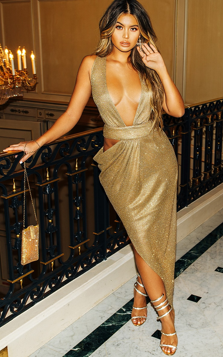 Gold Metallic Knit Asymmetric Cut Out Maxi Dress 1