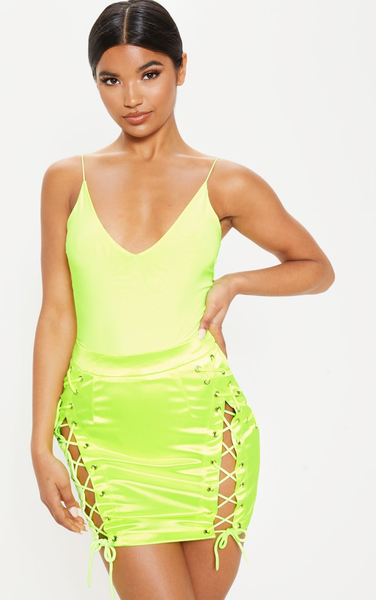 Neon Lime Satin Lace Up Detail Mini Skirt
