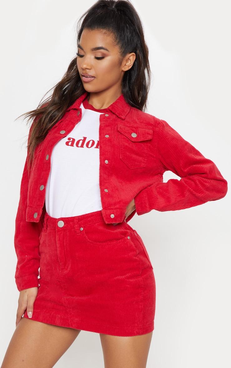 Red Jumbo Cord Skirt 1