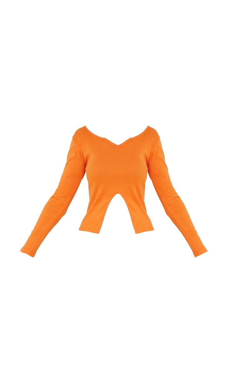 Orange Rib V Cut Out Long Sleeve Top 5