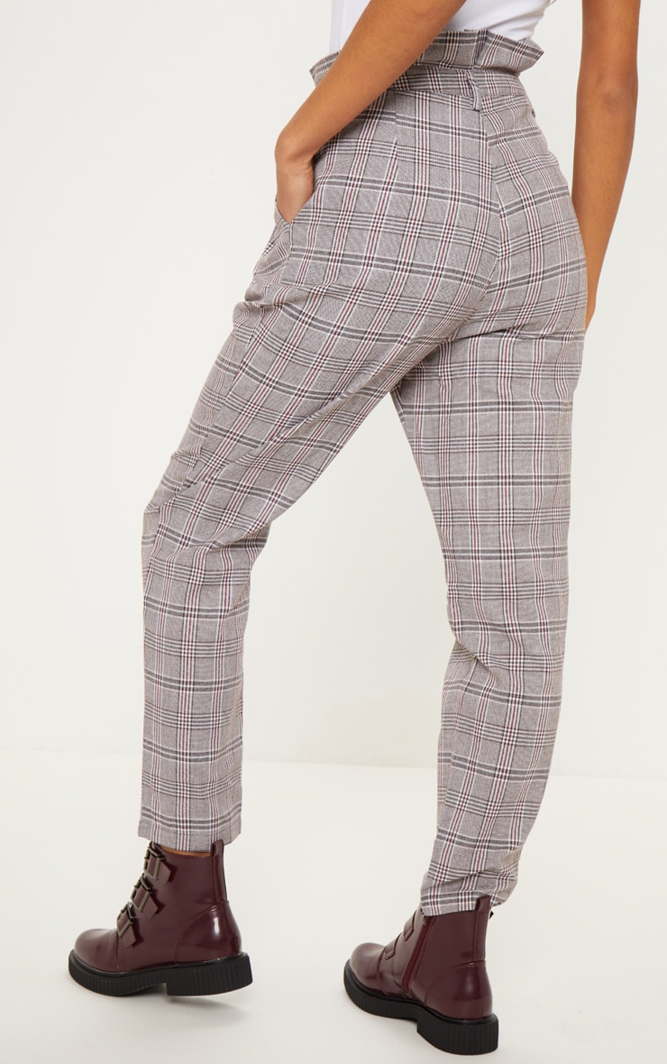 Chocolate Check Paperbag Pants 4