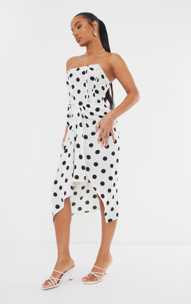 White Polka Dot Corset Draped Bandeau Midi Dress 3