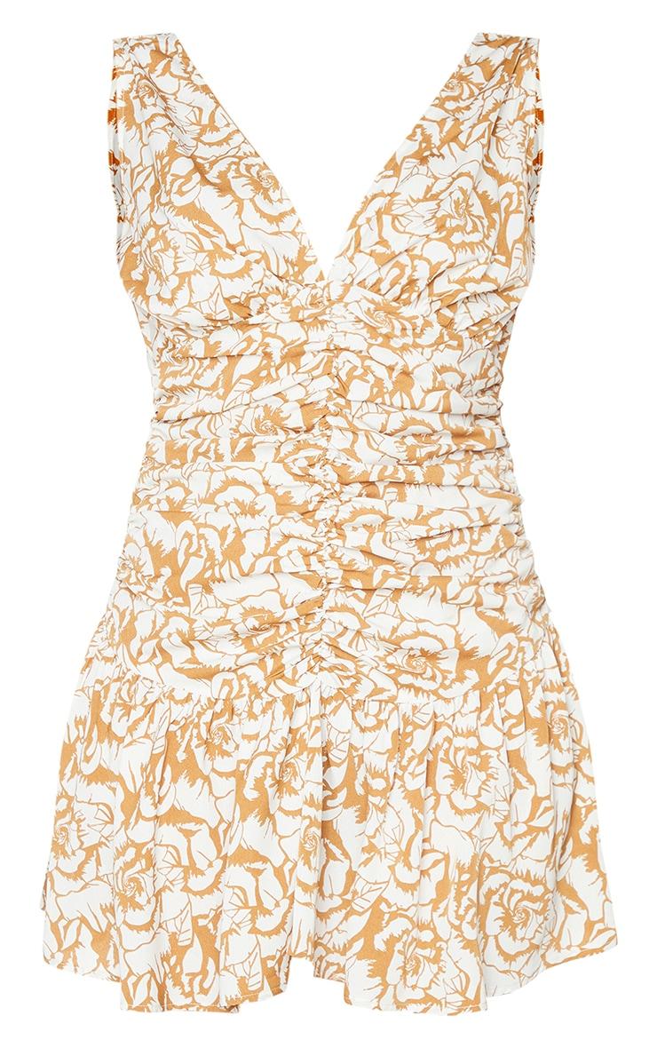 Camel Floral Print Plunge Ruched Skater Dress 5