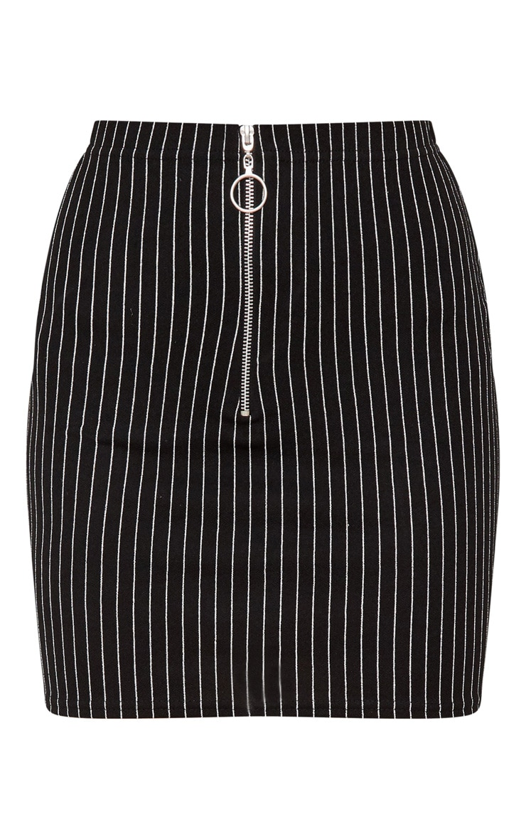 Black Pinstripe Mini Skirt 3