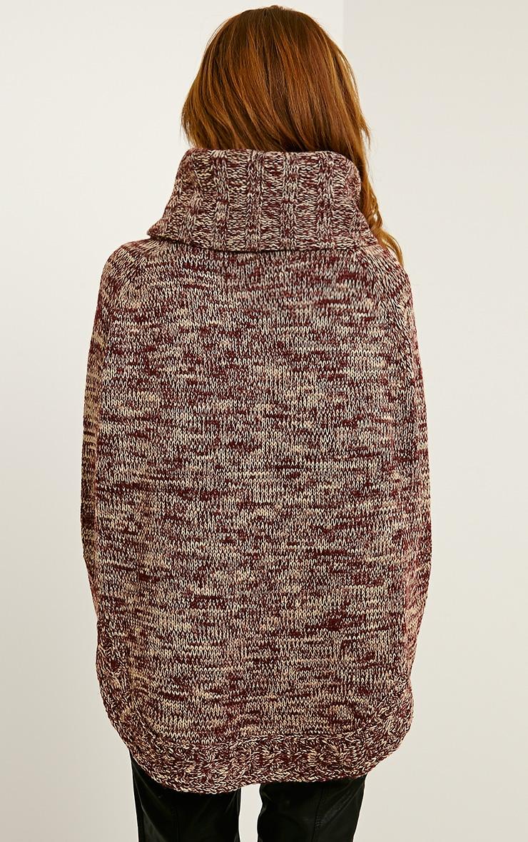 Linda Wine Chunky Knit Curve Hem Jumper 3