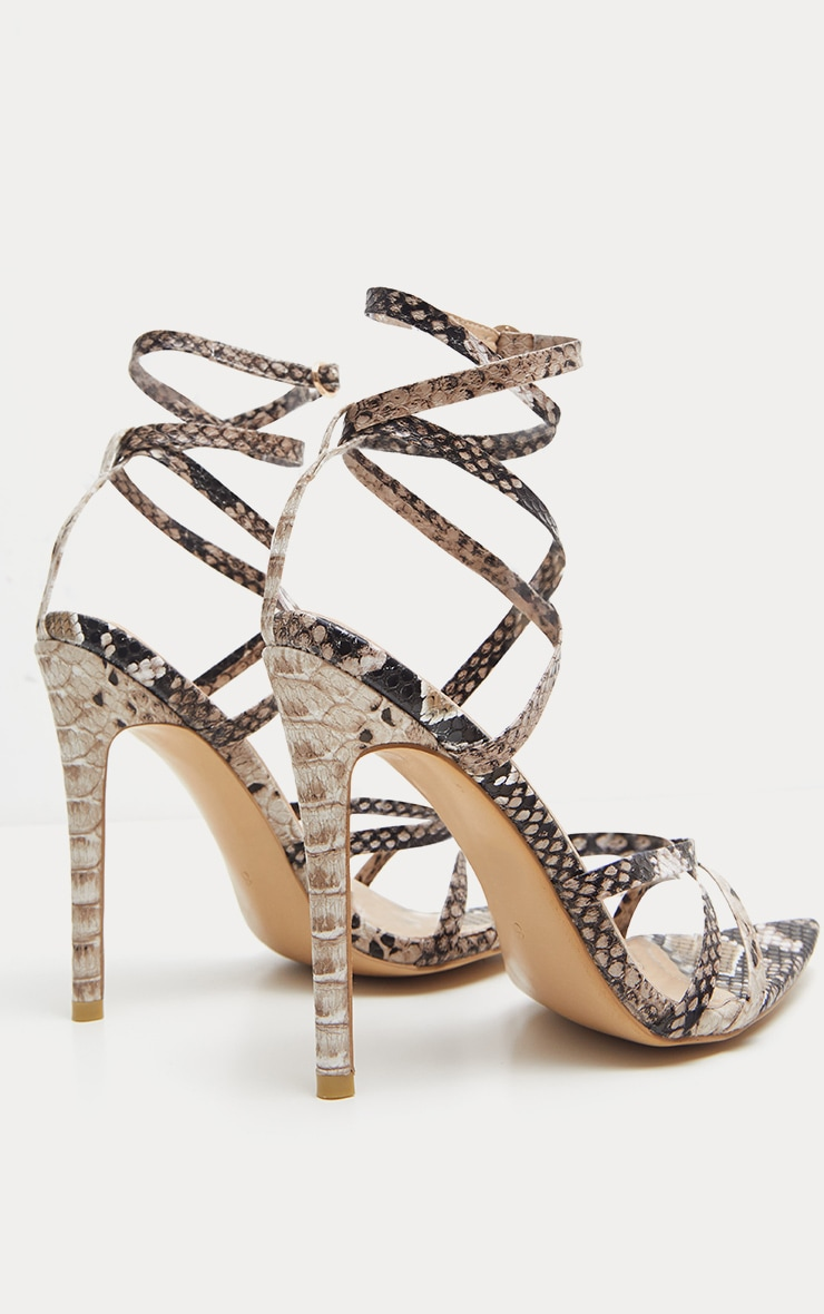 Snake Print Strappy Point Toe Sandal 4
