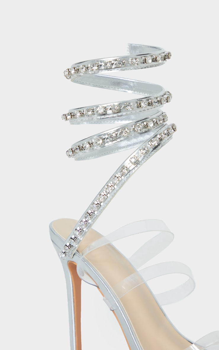 Silver Diamante Embellished Ankle Wrap Sandal 4