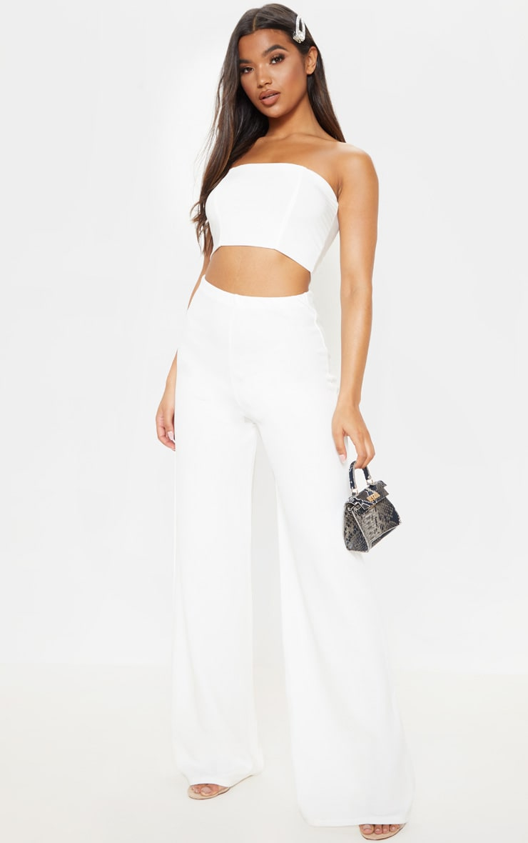 White High Waisted Wide Leg Trousers  1