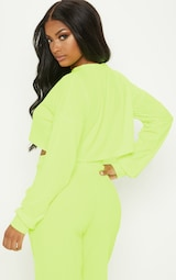 2c4cf77f7f852 Shape Neon Yellow Ribbed Long Sleeve Extreme Crop Top image 2